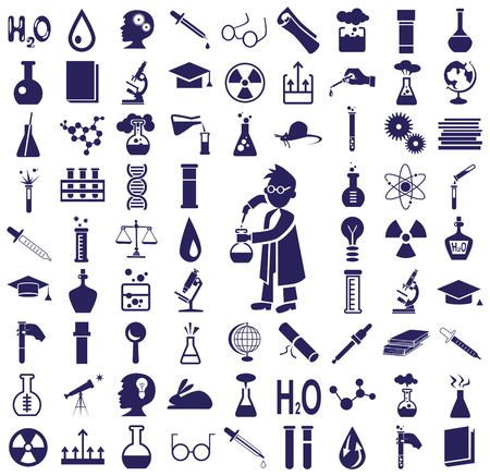 blue icons on a white background on the topic of science and knowledge