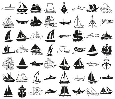 COnes ilustração preto sobre um fundo branco sobre o tema de navios Foto de archivo - 40924854