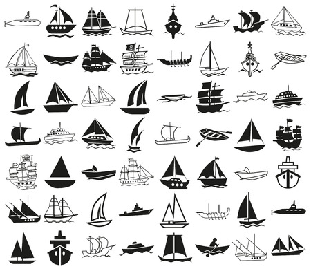 ships at sea: icons illustration black on a white background on the topic of ships
