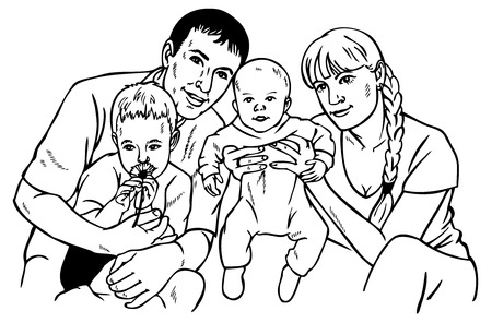 large woman: Image of happy family of four. Drawing on paper. Parents and children. Illustration