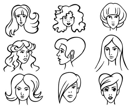 long straight hair: drawing head of beautiful women with different hair style on a white background