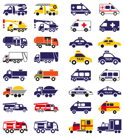 garbage truck: illustration set of emergency vehicles icons on a white background
