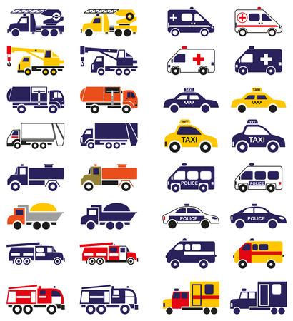 camion grua: Ilustración conjunto de iconos de los vehículos de emergencia sobre un fondo blanco Vectores