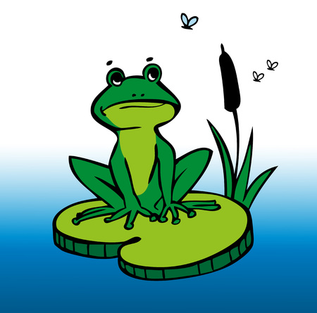 lily pad: Illustration of a green frog sitting on a lily pad with reeds and mosquitoes Illustration