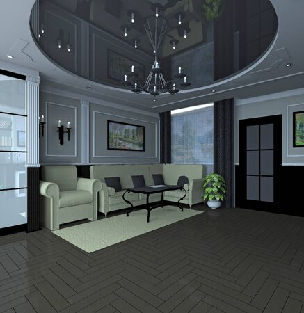 classic living room: Modern black and white classic interior of living room Stock Photo