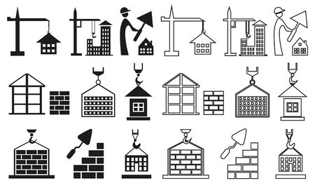 brick building: Black icons on white background on the topic of building houses