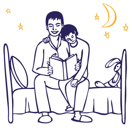 dad son: illustration on white background Dad reads the book his son on the bed at night Illustration