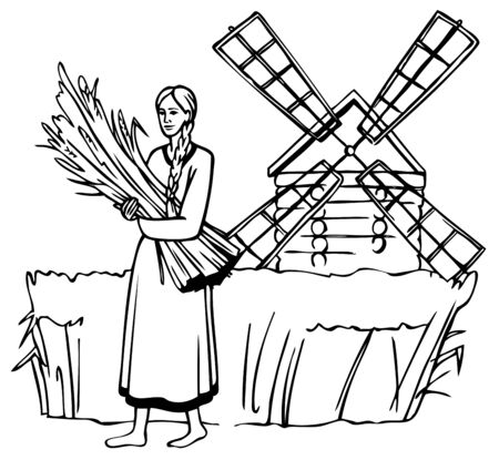 mills: illustration on a white girl holding ears on the background field of rye and mills