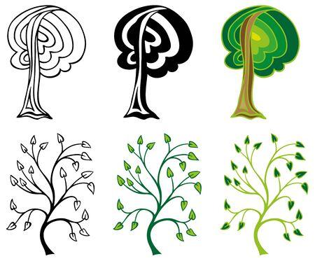 coma: illustration on a white background stylized image of deciduous trees