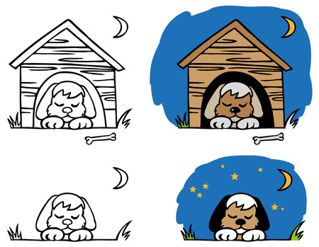 dog kennel: illustration of the small dog sleeps at night in a kennel with a bone