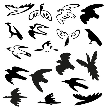 black illustration on white background stylized birds of different species