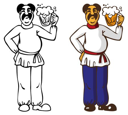 mustached: illustration of a mustached man in a white shirt holding a mug of beer