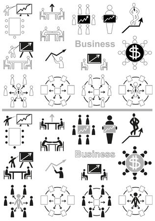 negotiations: icons on white background business, negotiations and schedule, team