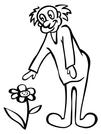 reaches: illustration on a white background a smiling man reaches for a flower
