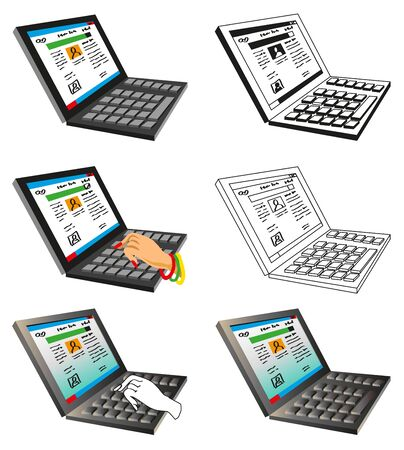 volumetric: volumetric and linear illustration of a black laptop on a white background with a hand