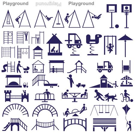 playground ride: blue icons on a white background on the topic of playground and kids