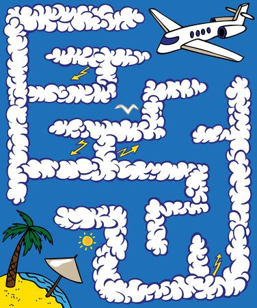 wander: Maze: the plane flies through the sky between the clouds on rest Illustration