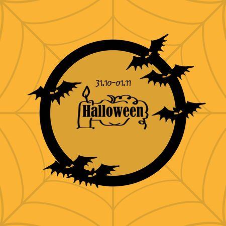 date fruit: illustration orange Halloween card with spider web and the inscription Illustration