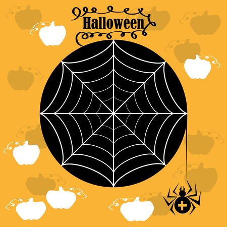 holiday celebrations: illustration orange Halloween card with spider web and the inscription Illustration