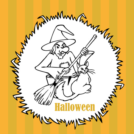 hag: illustration on an orange striped background with frame grass witch with a cat