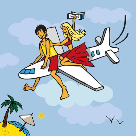 girls bottom: Illustration on the background of the sky flying aircraft with boys and girls and at the bottom you can see the beach with palm tree Illustration