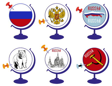 country church: illustration on a white background Globe with the sights and the flag of Russia