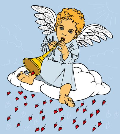 fife: picture of a small Cupid who plays the flute. Drawing color. Illustration