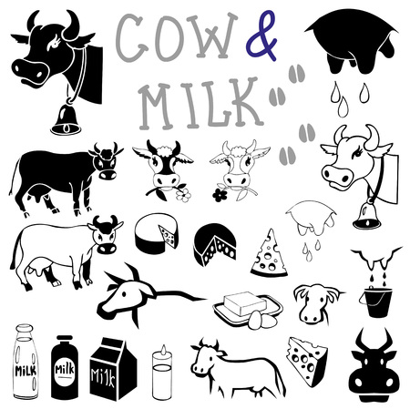 illustration on a white background icons and pictures and cow and  products