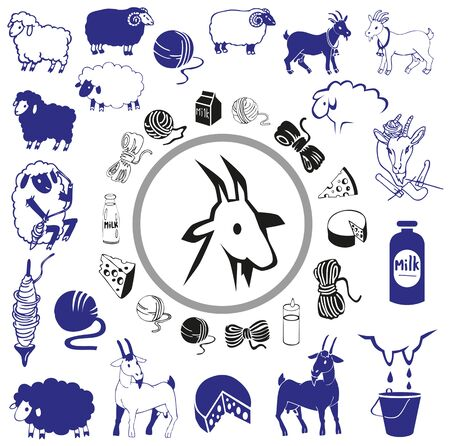 spindle: illustration on a white background icons and images of sheep and goat products Illustration