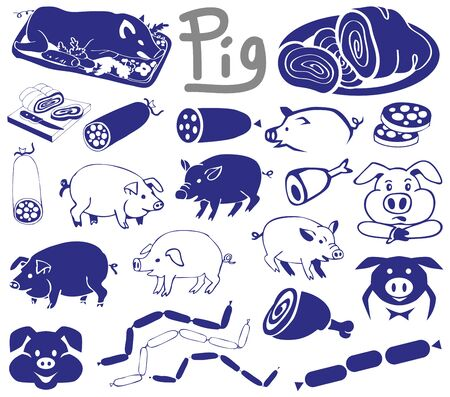 cold cuts: illustration on a white background icons and drawings pigs and products