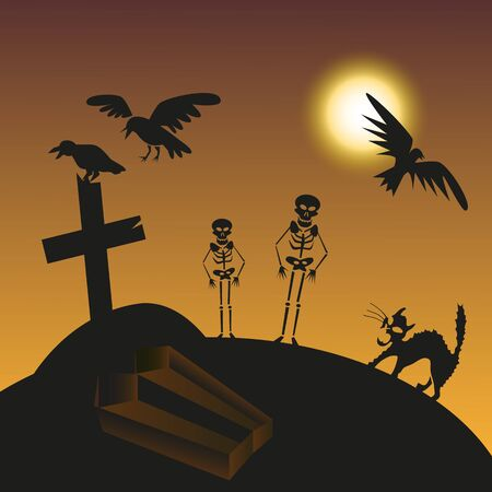 hearse: illustration of the night with the moon in the cemetery of the birds and skeletons
