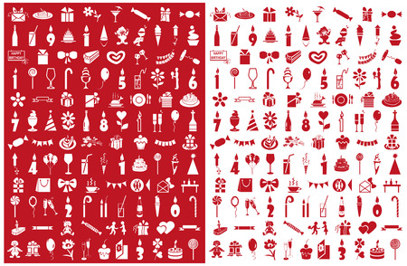 preview: Preview of holiday icons on red and white background Illustration