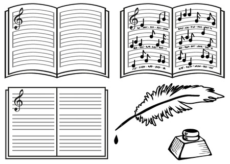 compose: music books with lines, notes and a treble clef on a white background. Pen and black ink