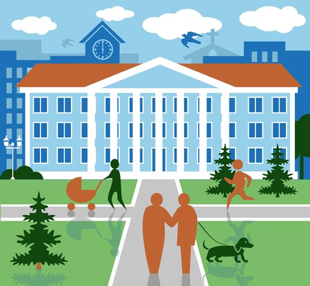 summer dog: Color illustration of city life with buildings and people day