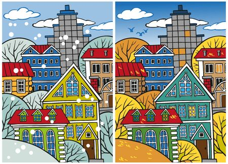 frontage: illustration of a large vibrant city winter and autumn with houses on top of each other