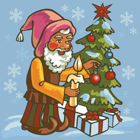 decorates: Gnome with a candle in his hand decorates the Christmas tree in winter