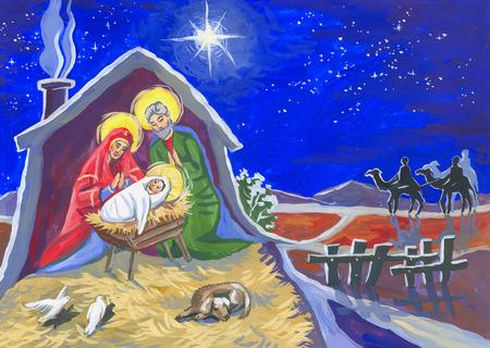 Illustration couleur nuit étoile de Noël et un bébé né dans une étable. Le dessin d'enfant Banque d'images