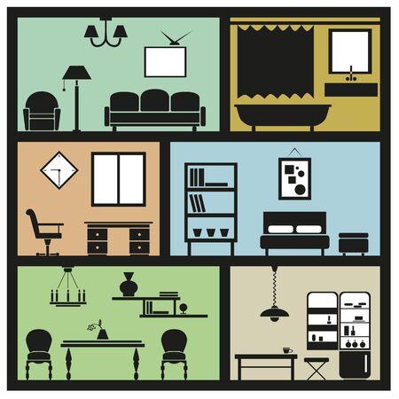silhouette maison: Couper la maison avec des meubles sous la forme d'une silhouette à l'intérieur