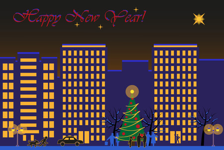 winter night: The image of the winter night city on New Years Eve celebration Illustration