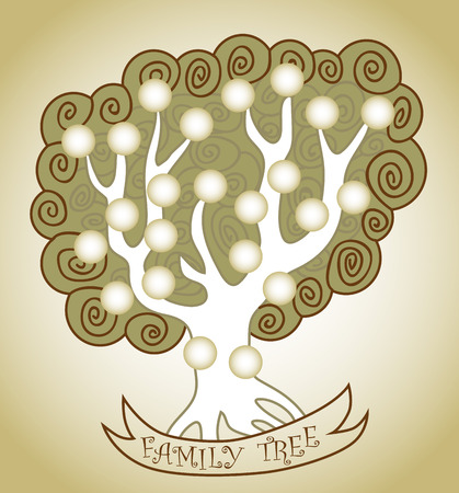 genus: illustration of a family tree with branches and circles ribbon with the inscription Illustration