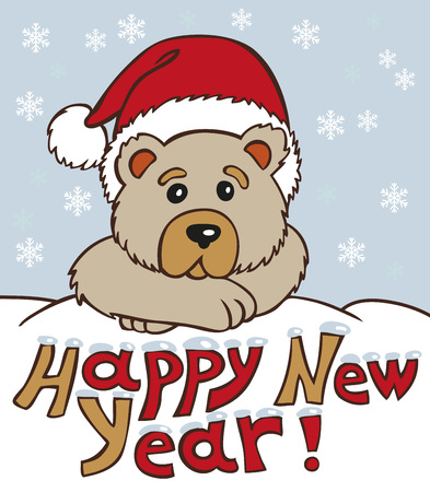 snowdrift: Bear in a cap looks out of a snowdrift. Caption: Happy New Year!
