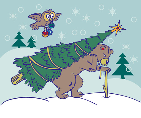 brings: illustration of winter bear brown brings on the back of the tree, and the owl flies with Christmas toys