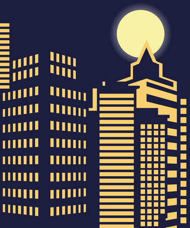 megalopolis: big city at night windows of high-rise buildings and the moon shines Illustration