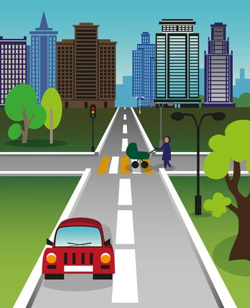 pedestrian: Color illustration of a big city street. The pedestrian with a pram crossing the road.