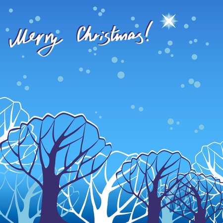 coma: Blue Christmas illustration with glowing star and tree cover in winter