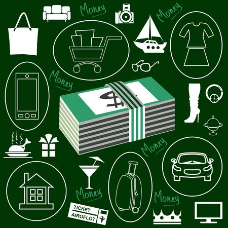 dark green background: on a dark green background picture stack of money and objects that you can buy them