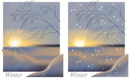 Color illustration of the winter sunrise is snow and a tree branch Illustration