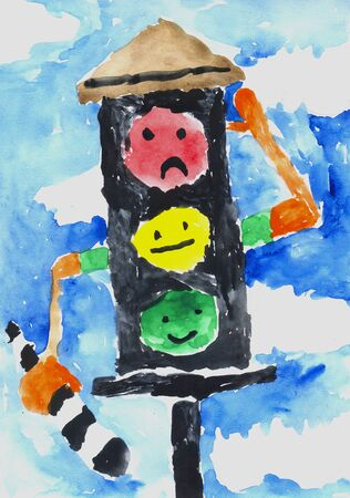 angry sky: childrens drawing watercolor live traffic with emotions
