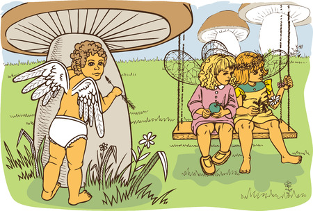 oversee: picture of a small Cupid who oversees two girls fairies. color illustration Illustration