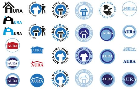aura: Icons on a white background house and the inscription aura Illustration